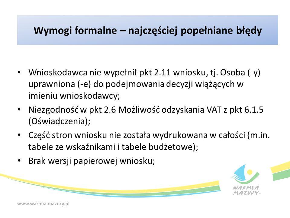 Wnioskodawca nie wypełnił pkt 2.11 wniosku, tj. Osoba (-y) uprawniona (-e) do podejmowania decyzji wiążących w imieniu wnioskodawcy; Niezgodność w pkt