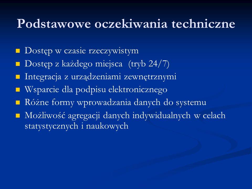 Podstawowe oczekiwania techniczne Dostęp w czasie rzeczywistym Dostęp z każdego miejsca (tryb 24/7) Integracja z urządzeniami zewnętrznymi Wsparcie dla podpisu elektronicznego Różne formy wprowadzania danych do systemu Możliwość agregacji danych indywidualnych w celach statystycznych i naukowych