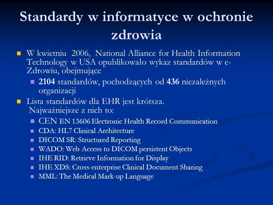 Standardy w informatyce w ochronie zdrowia W kwietniu 2006, National Alliance for Health Information Technology w USA opublikowało wykaz standardów w e- Zdrowiu, obejmujące 2104 standardów, pochodzących od 436 niezależnych organizacji Lista standardów dla EHR jest krótsza.