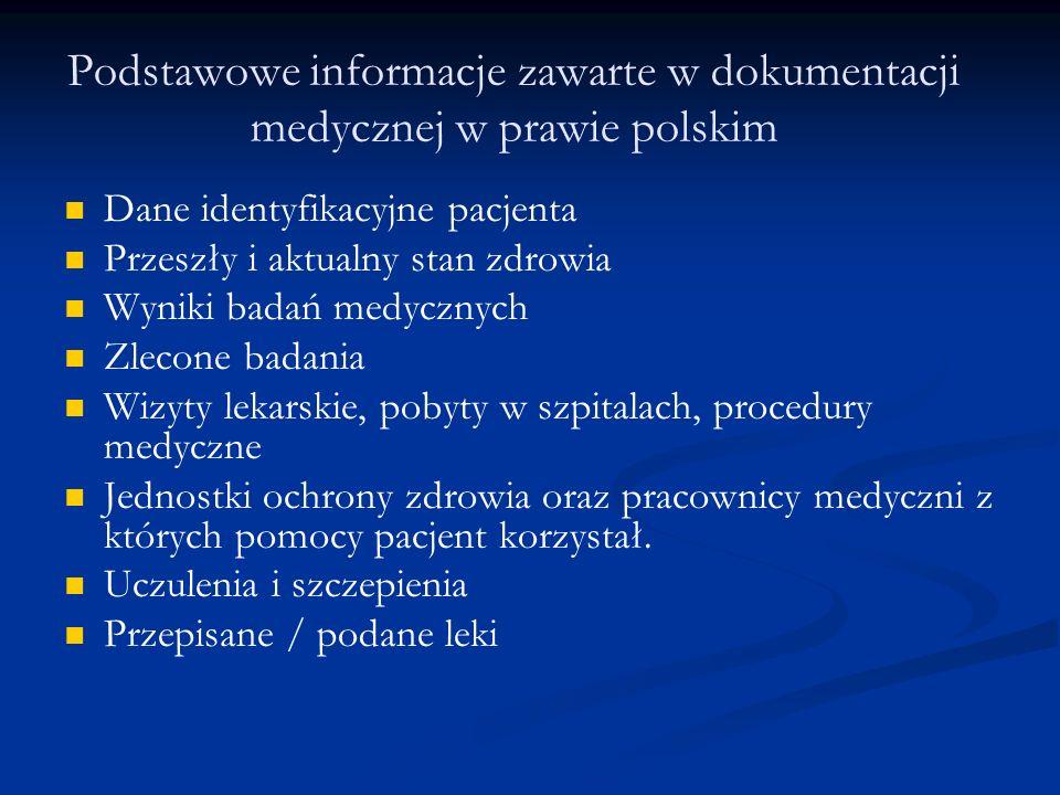 Podstawowe informacje zawarte w dokumentacji medycznej w prawie polskim Dane identyfikacyjne pacjenta Przeszły i aktualny stan zdrowia Wyniki badań medycznych Zlecone badania Wizyty lekarskie, pobyty w szpitalach, procedury medyczne Jednostki ochrony zdrowia oraz pracownicy medyczni z których pomocy pacjent korzystał.