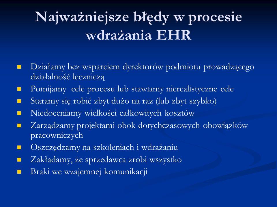 Najważniejsze błędy w procesie wdrażania EHR Działamy bez wsparciem dyrektorów podmiotu prowadzącego działalność leczniczą Pomijamy cele procesu lub stawiamy nierealistyczne cele Staramy się robić zbyt dużo na raz (lub zbyt szybko) Niedoceniamy wielkości całkowitych kosztów Zarządzamy projektami obok dotychczasowych obowiązków pracowniczych Oszczędzamy na szkoleniach i wdrażaniu Zakładamy, że sprzedawca zrobi wszystko Braki we wzajemnej komunikacji