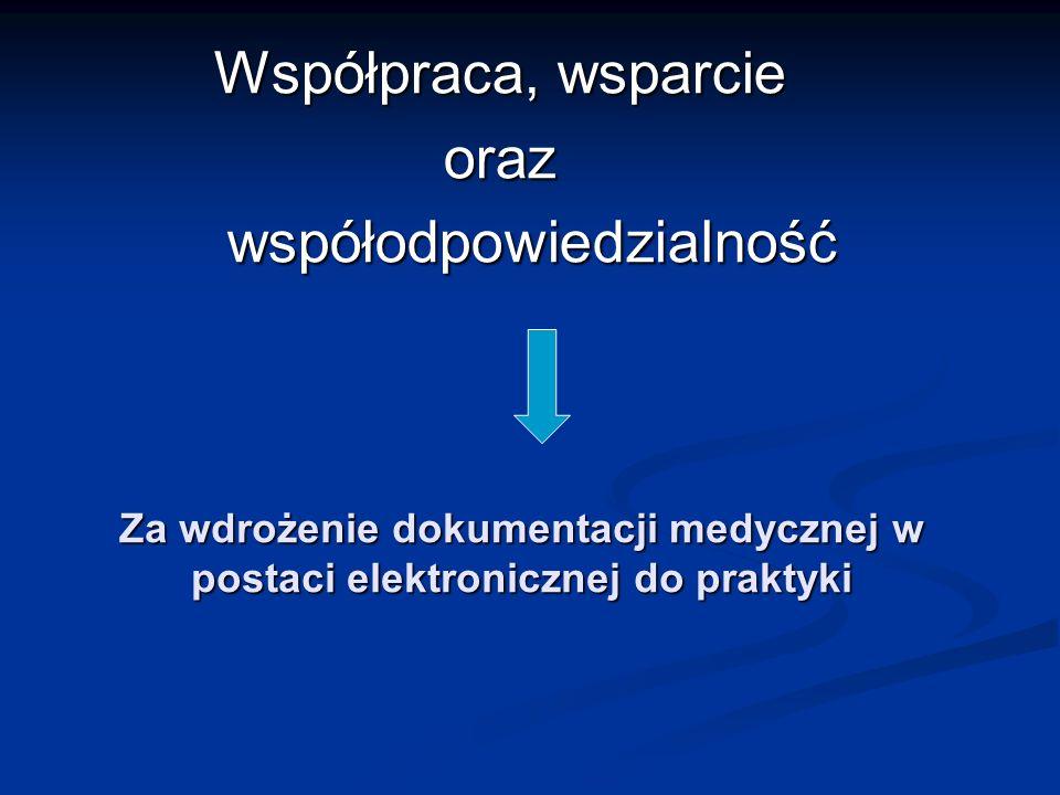 Za wdrożenie dokumentacji medycznej w postaci elektronicznej do praktyki Za wdrożenie dokumentacji medycznej w postaci elektronicznej do praktyki Współpraca, wsparcie oraz współodpowiedzialność współodpowiedzialność