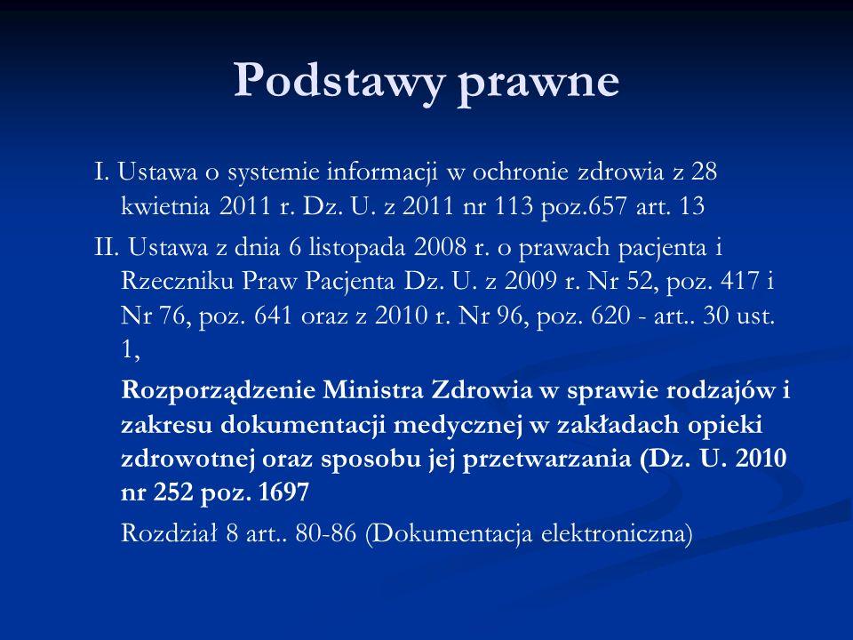 Podstawy prawne I. Ustawa o systemie informacji w ochronie zdrowia z 28 kwietnia 2011 r.