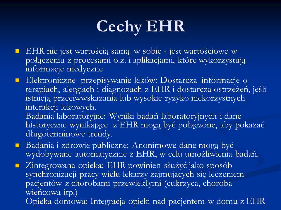 Cechy EHR EHR nie jest wartością samą w sobie - jest wartościowe w połączeniu z procesami o.z.