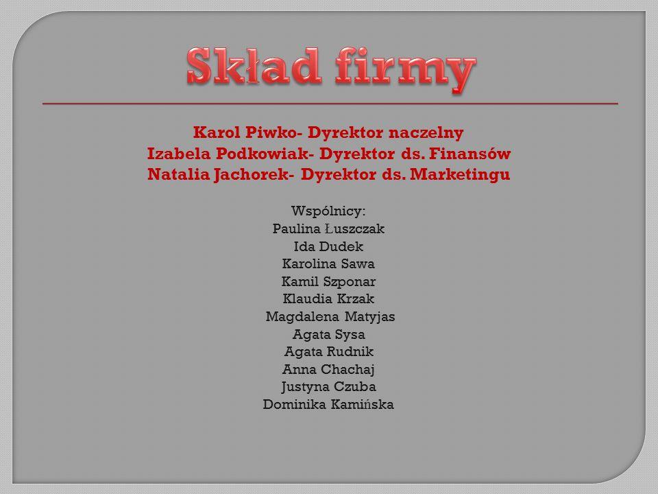 Karol Piwko- Dyrektor naczelny Izabela Podkowiak- Dyrektor ds.