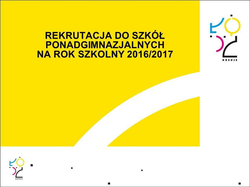 REKRUTACJA DO SZKÓŁ PONADGIMNAZJALNYCH NA ROK SZKOLNY 2016/2017