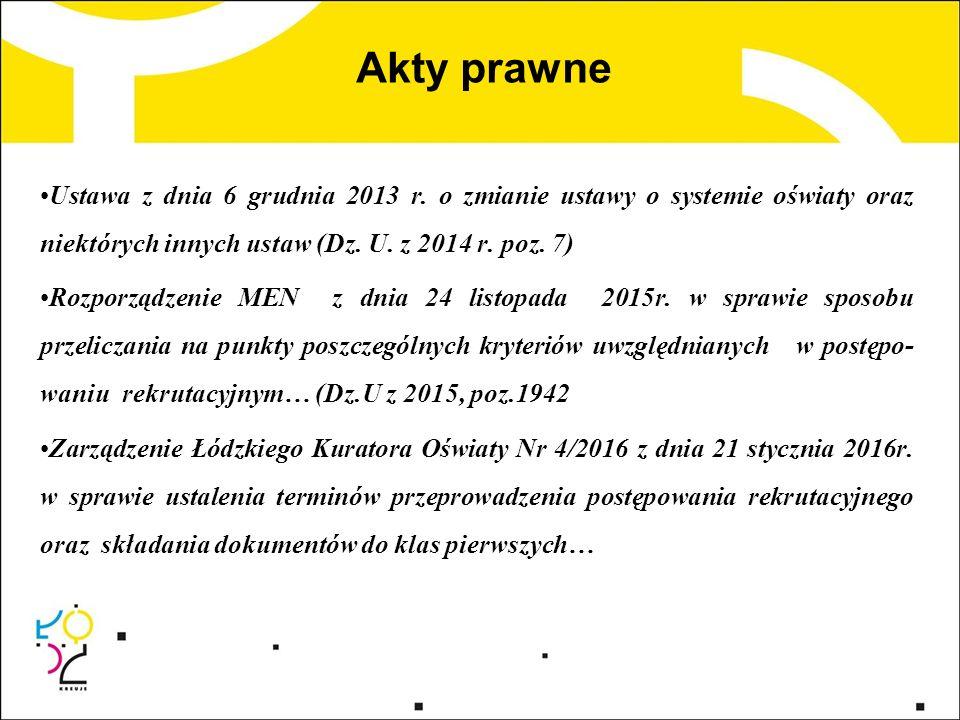 Akty prawne Ustawa z dnia 6 grudnia 2013 r. o zmianie ustawy o systemie oświaty oraz niektórych innych ustaw (Dz. U. z 2014 r. poz. 7) Rozporządzenie
