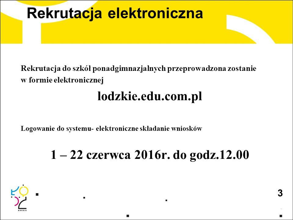 Rekrutacja elektroniczna Rekrutacja do szkół ponadgimnazjalnych przeprowadzona zostanie w formie elektronicznej lodzkie.edu.com.pl Logowanie do system