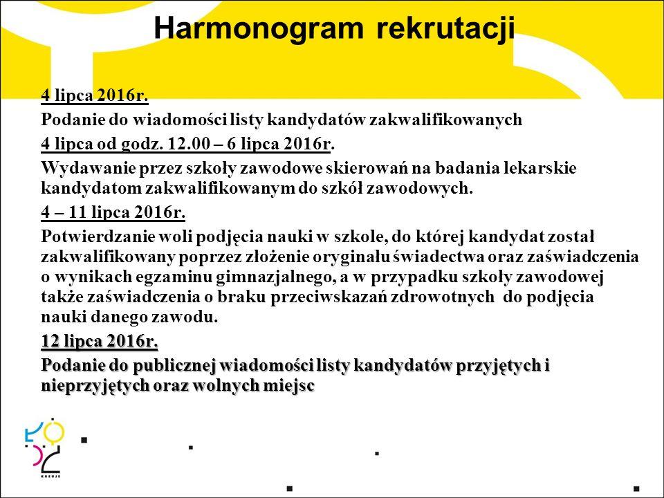 Harmonogram rekrutacji 4 lipca 2016r. Podanie do wiadomości listy kandydatów zakwalifikowanych 4 lipca od godz. 12.00 – 6 lipca 2016r. Wydawanie przez