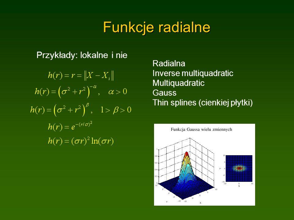 Funkcje radialne Przykłady: lokalne i nie Radialna Inverse multiquadratic Multiquadratic Gauss Thin splines (cienkiej płytki)