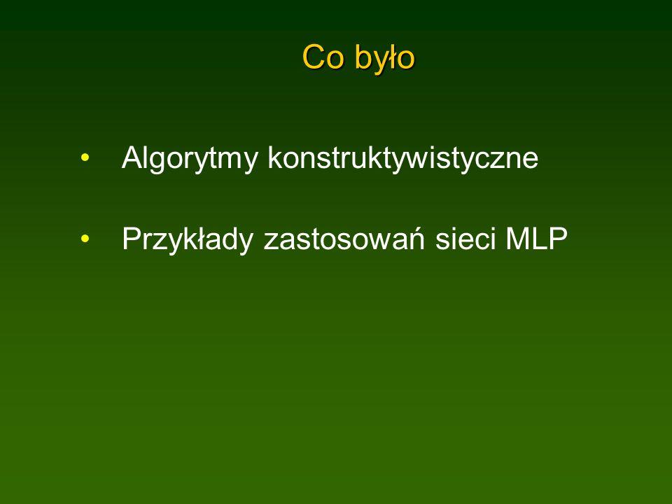 Co było Algorytmy konstruktywistyczne Przykłady zastosowań sieci MLP