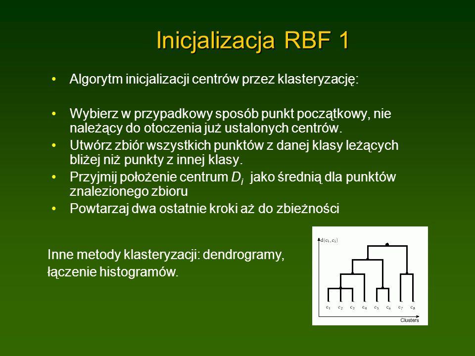Inicjalizacja RBF 1 Algorytm inicjalizacji centrów przez klasteryzację: Wybierz w przypadkowy sposób punkt początkowy, nie należący do otoczenia już ustalonych centrów.