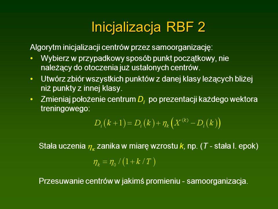 Inicjalizacja RBF 2 Algorytm inicjalizacji centrów przez samoorganizację: Wybierz w przypadkowy sposób punkt początkowy, nie należący do otoczenia już ustalonych centrów.