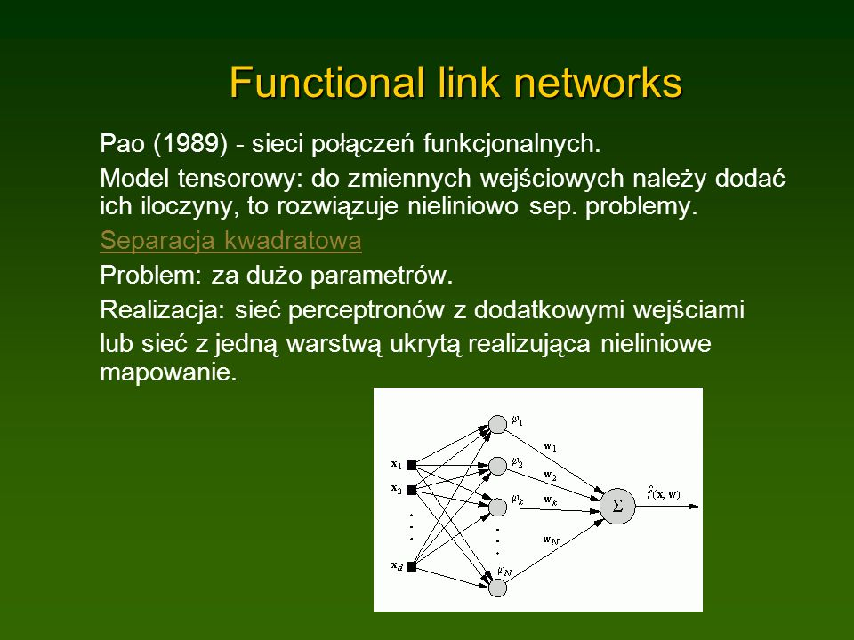 Functional link networks Pao (1989) - sieci połączeń funkcjonalnych.