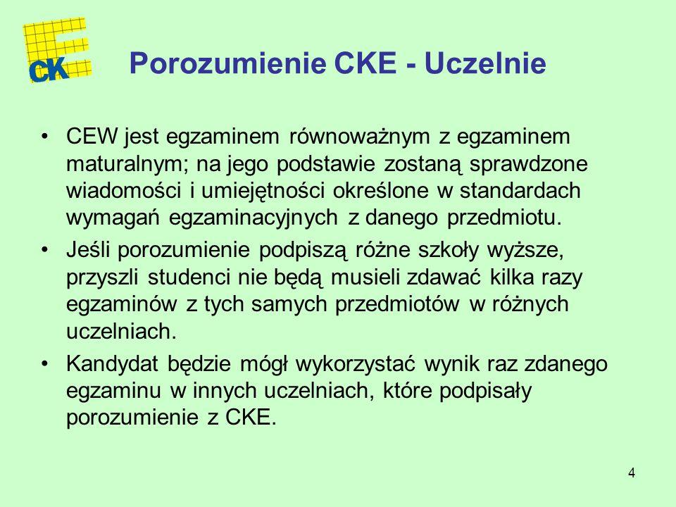 4 Porozumienie CKE - Uczelnie CEW jest egzaminem równoważnym z egzaminem maturalnym; na jego podstawie zostaną sprawdzone wiadomości i umiejętności określone w standardach wymagań egzaminacyjnych z danego przedmiotu.