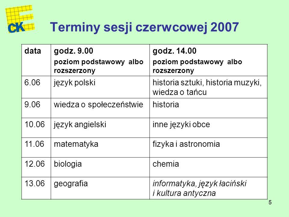 5 Terminy sesji czerwcowej 2007 datagodz. 9.00 poziom podstawowy albo rozszerzony godz.