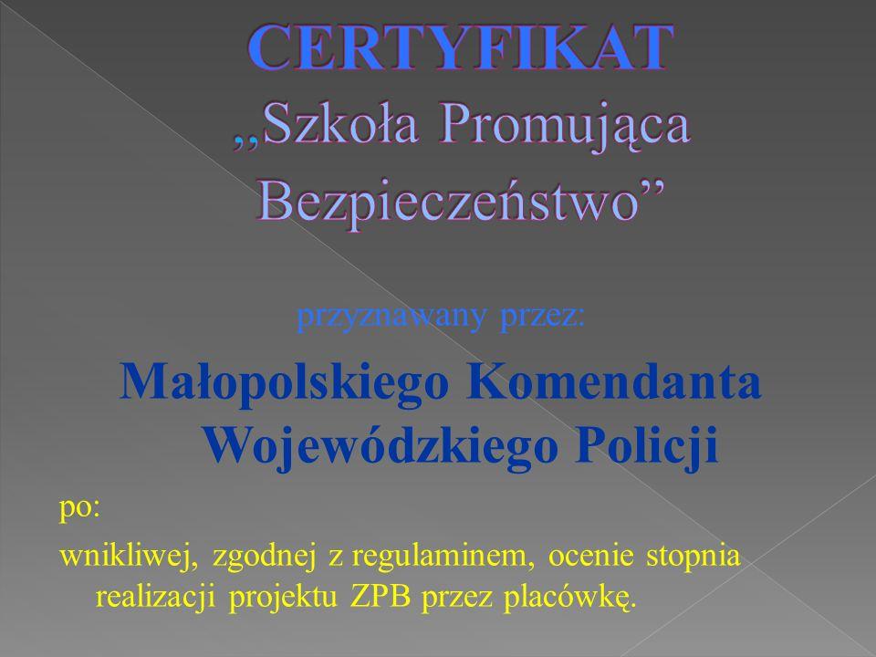 przyznawany przez: Małopolskiego Komendanta Wojewódzkiego Policji po: wnikliwej, zgodnej z regulaminem, ocenie stopnia realizacji projektu ZPB przez p