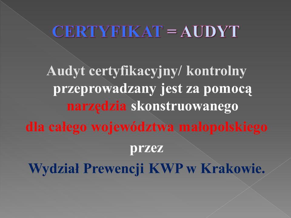 Audyt certyfikacyjny/ kontrolny przeprowadzany jest za pomocą narzędzia skonstruowanego dla całego województwa małopolskiego przez Wydział Prewencji K
