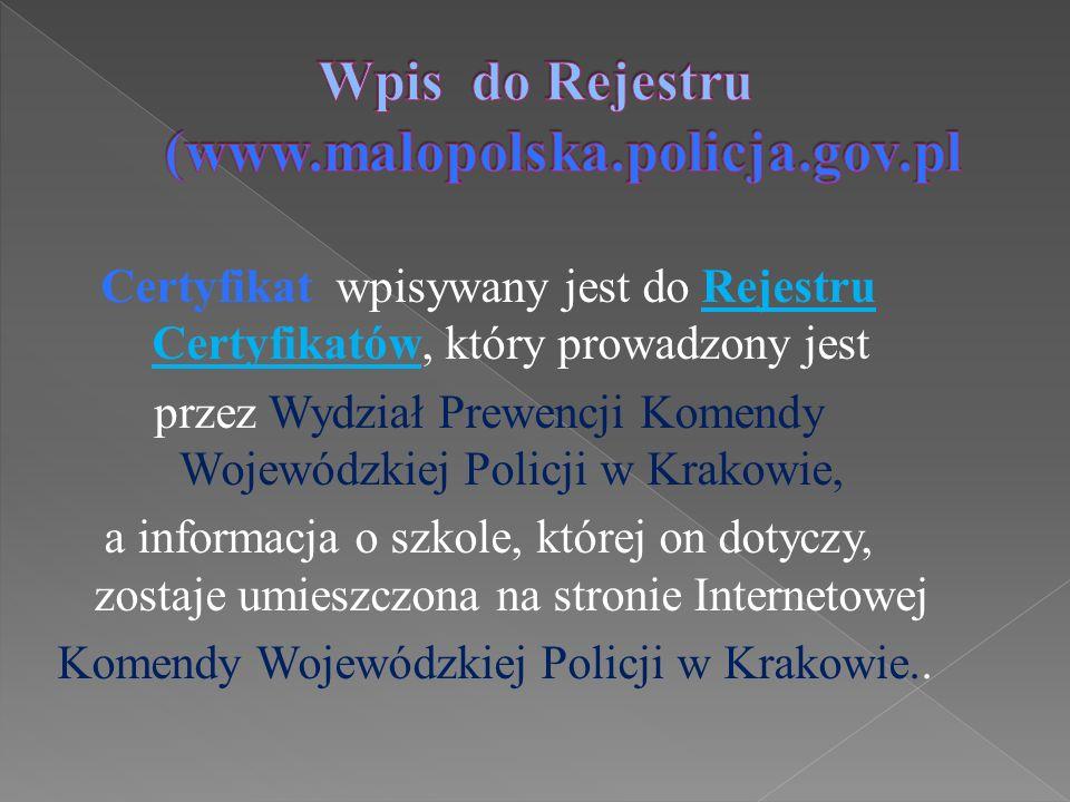 Certyfikat wpisywany jest do Rejestru Certyfikatów, który prowadzony jest przez Wydział Prewencji Komendy Wojewódzkiej Policji w Krakowie, a informacj