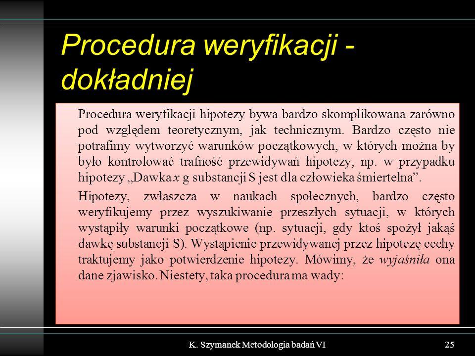 Procedura weryfikacji - dokładniej Procedura weryfikacji hipotezy bywa bardzo skomplikowana zarówno pod względem teoretycznym, jak technicznym.