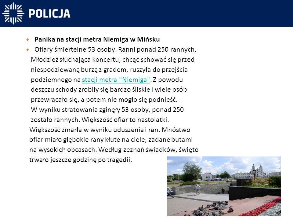 Panika na stacji metra Niemiga w Mińsku Ofiary śmiertelne 53 osoby.