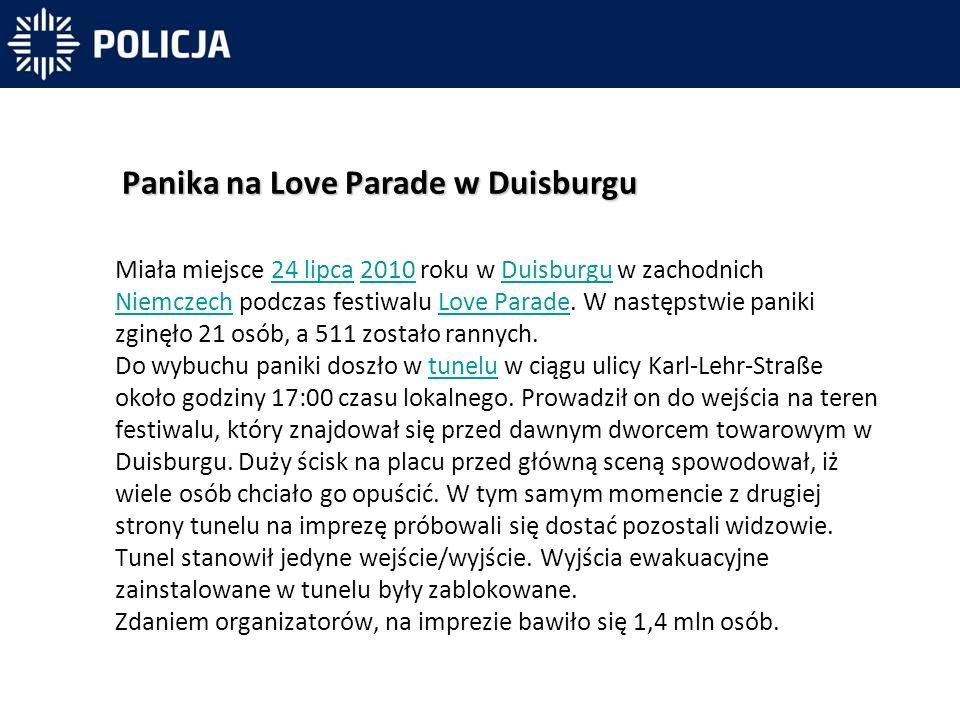 Miała miejsce 24 lipca 2010 roku w Duisburgu w zachodnich Niemczech podczas festiwalu Love Parade.