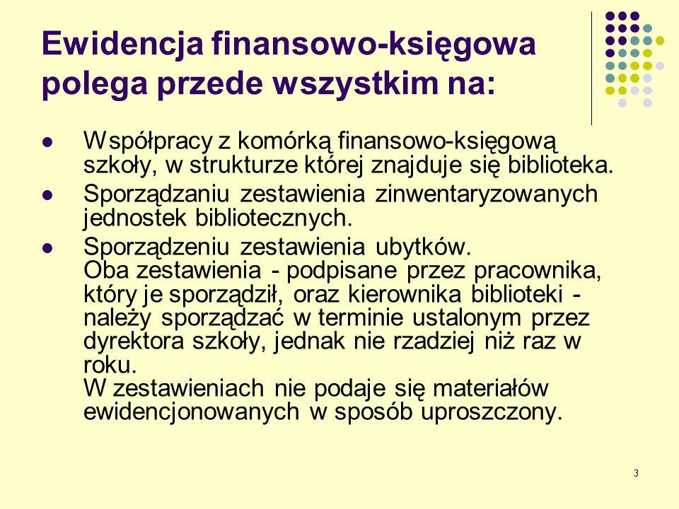 3 Ewidencja finansowo-księgowa polega przede wszystkim na: Współpracy z komórką finansowo-księgową szkoły, w strukturze której znajduje się biblioteka.