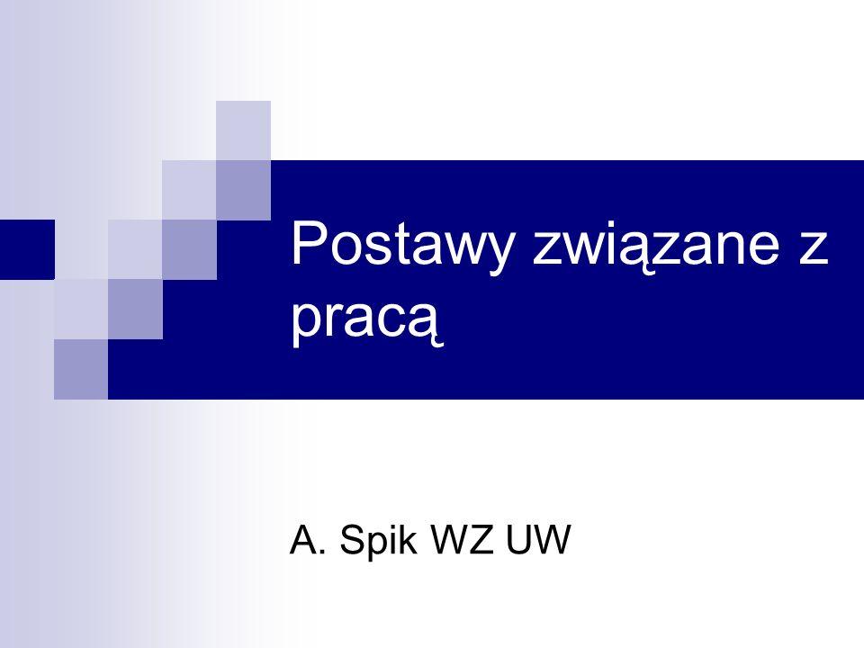 Postawy związane z pracą A. Spik WZ UW