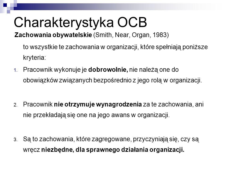 Charakterystyka OCB Zachowania obywatelskie (Smith, Near, Organ, 1983) to wszystkie te zachowania w organizacji, które spełniają poniższe kryteria: 1.