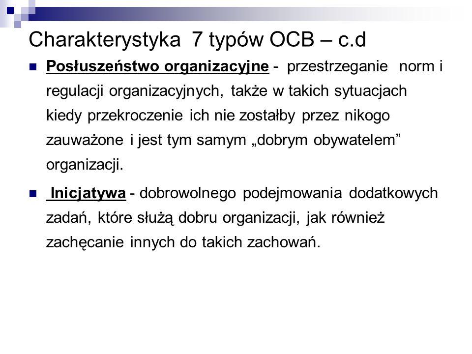 """Charakterystyka 7 typów OCB – c.d Posłuszeństwo organizacyjne - przestrzeganie norm i regulacji organizacyjnych, także w takich sytuacjach kiedy przekroczenie ich nie zostałby przez nikogo zauważone i jest tym samym """"dobrym obywatelem organizacji."""