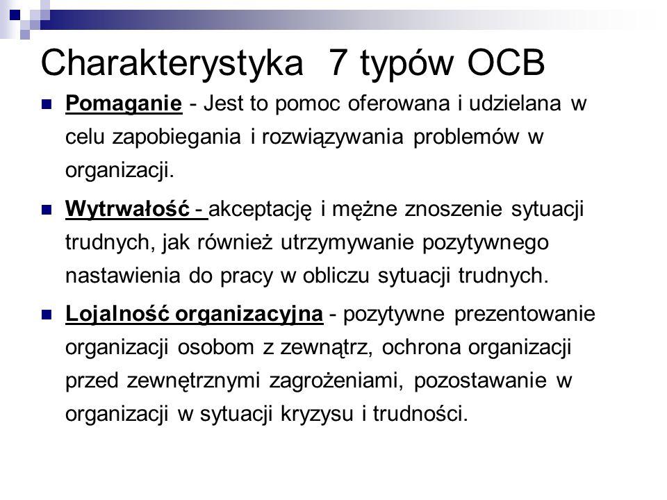 Charakterystyka 7 typów OCB Pomaganie - Jest to pomoc oferowana i udzielana w celu zapobiegania i rozwiązywania problemów w organizacji.