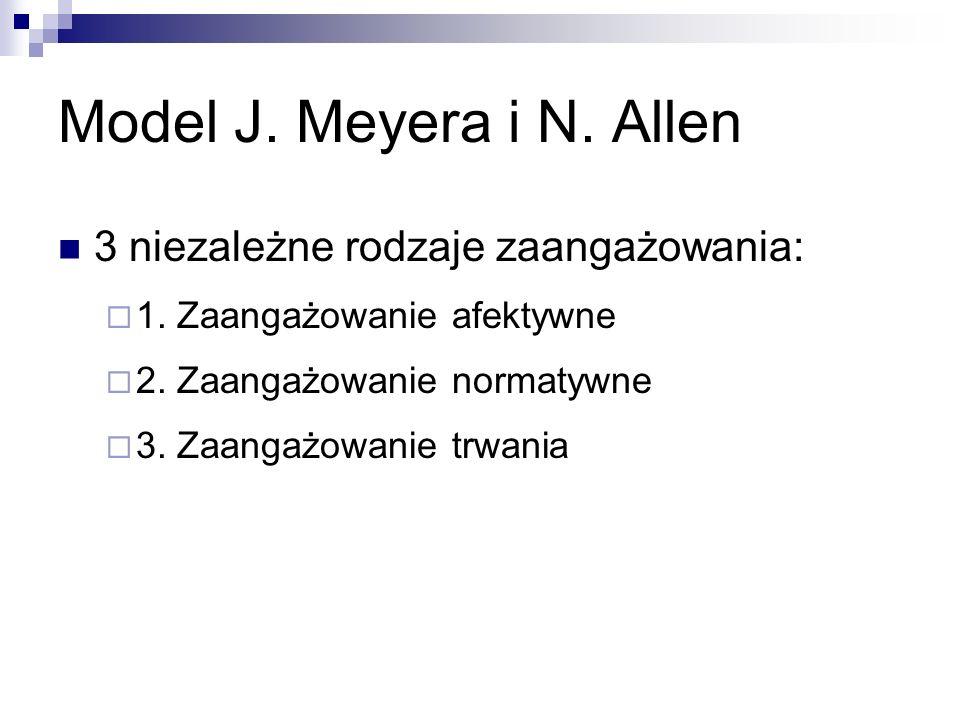 Model J. Meyera i N. Allen 3 niezależne rodzaje zaangażowania:  1.