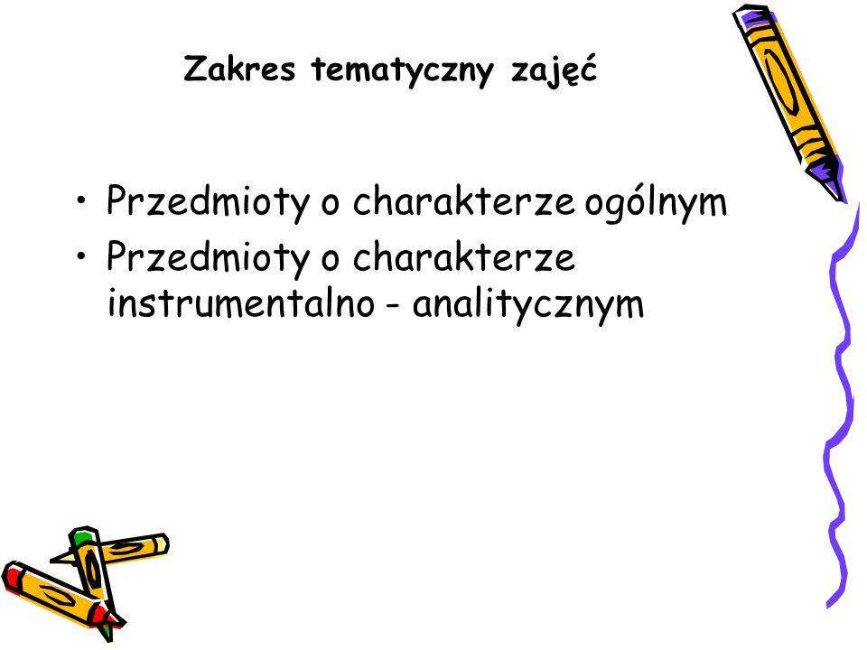 Zakres tematyczny zajęć Przedmioty o charakterze ogólnym Przedmioty o charakterze instrumentalno - analitycznym