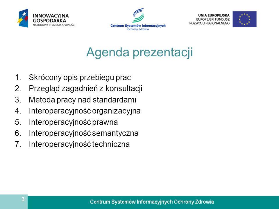 3 Agenda prezentacji 1.Skrócony opis przebiegu prac 2.Przegląd zagadnień z konsultacji 3.Metoda pracy nad standardami 4.Interoperacyjność organizacyjna 5.Interoperacyjność prawna 6.Interoperacyjność semantyczna 7.Interoperacyjność techniczna