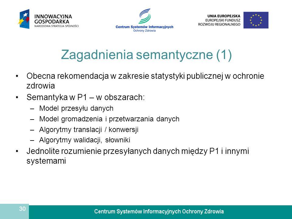 30 Zagadnienia semantyczne (1) Obecna rekomendacja w zakresie statystyki publicznej w ochronie zdrowia Semantyka w P1 – w obszarach: –Model przesyłu danych –Model gromadzenia i przetwarzania danych –Algorytmy translacji / konwersji –Algorytmy walidacji, słowniki Jednolite rozumienie przesyłanych danych między P1 i innymi systemami