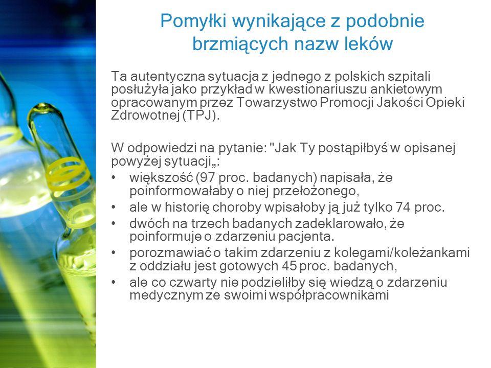 Pomyłki wynikające z podobnie brzmiących nazw leków Ta autentyczna sytuacja z jednego z polskich szpitali posłużyła jako przykład w kwestionariuszu ankietowym opracowanym przez Towarzystwo Promocji Jakości Opieki Zdrowotnej (TPJ).