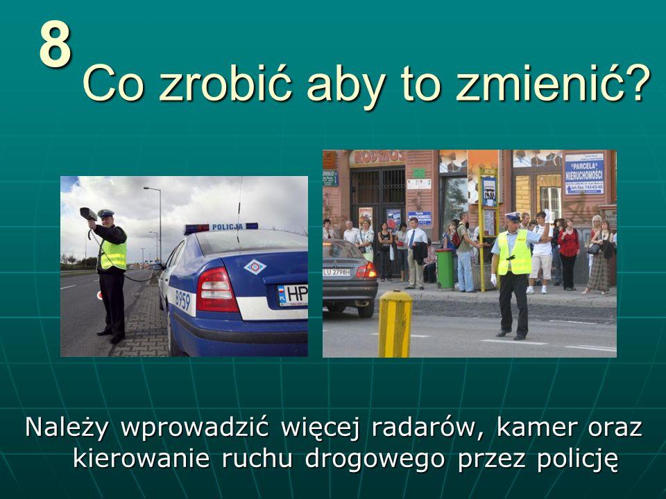 Co zrobić aby to zmienić? Należy wprowadzić więcej radarów, kamer oraz kierowanie ruchu drogowego przez policję8