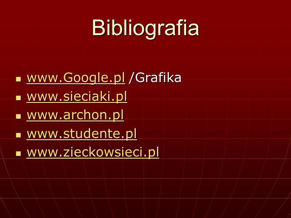 Bibliografia www.Google.pl /Grafika www.Google.pl /Grafika www.Google.pl www.sieciaki.pl www.sieciaki.pl www.sieciaki.pl www.archon.pl www.archon.pl www.archon.pl www.studente.pl www.studente.pl www.studente.pl www.zieckowsieci.pl www.zieckowsieci.pl www.zieckowsieci.pl