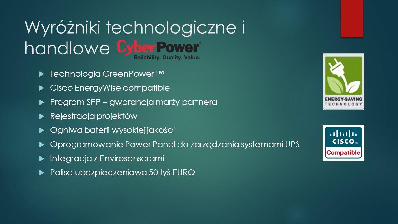 Wyróżniki technologiczne i handlowe  Technologia GreenPower ™  Cisco EnergyWise compatible  Program SPP – gwarancja marży partnera  Rejestracja pr