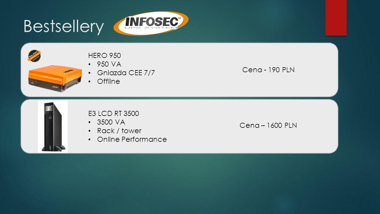 Bestsellery HERO 950 950 VA Gniazda CEE 7/7 Offline Cena - 190 PLN E3 LCD RT 3500 3500 VA Rack / tower Online Performance Cena – 1600 PLN