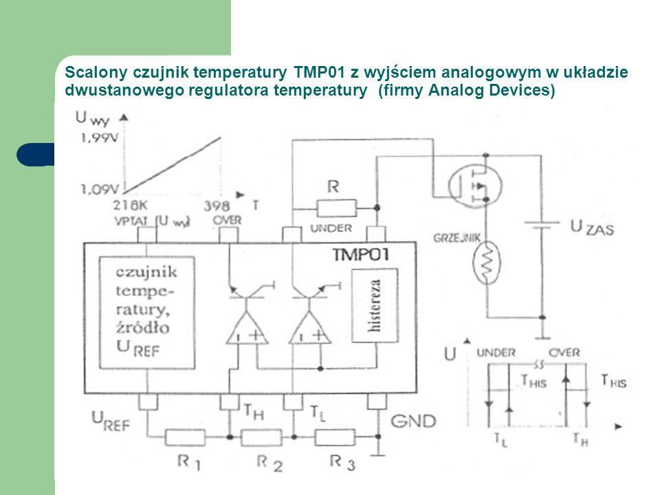 Scalony czujnik temperatury TMP01 z wyjściem analogowym w układzie dwustanowego regulatora temperatury (firmy Analog Devices)