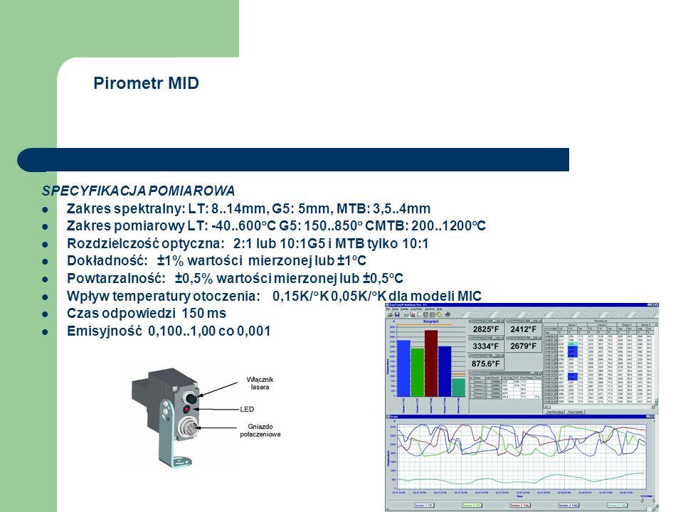 Pirometr MID SPECYFIKACJA POMIAROWA Zakres spektralny: LT: 8..14mm, G5: 5mm, MTB: 3,5..4mm Zakres pomiarowy LT: -40..600  C G5: 150..850  CMTB: 200.