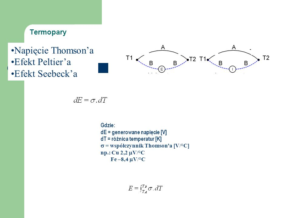 Termopary Termopara WoltomierzAmperomierz Gdzie: dE = generowane napięcie [V] dT = różnica temperatur [K]  = współczynnik Thomson'a [V/°C] np.: Cu 2,