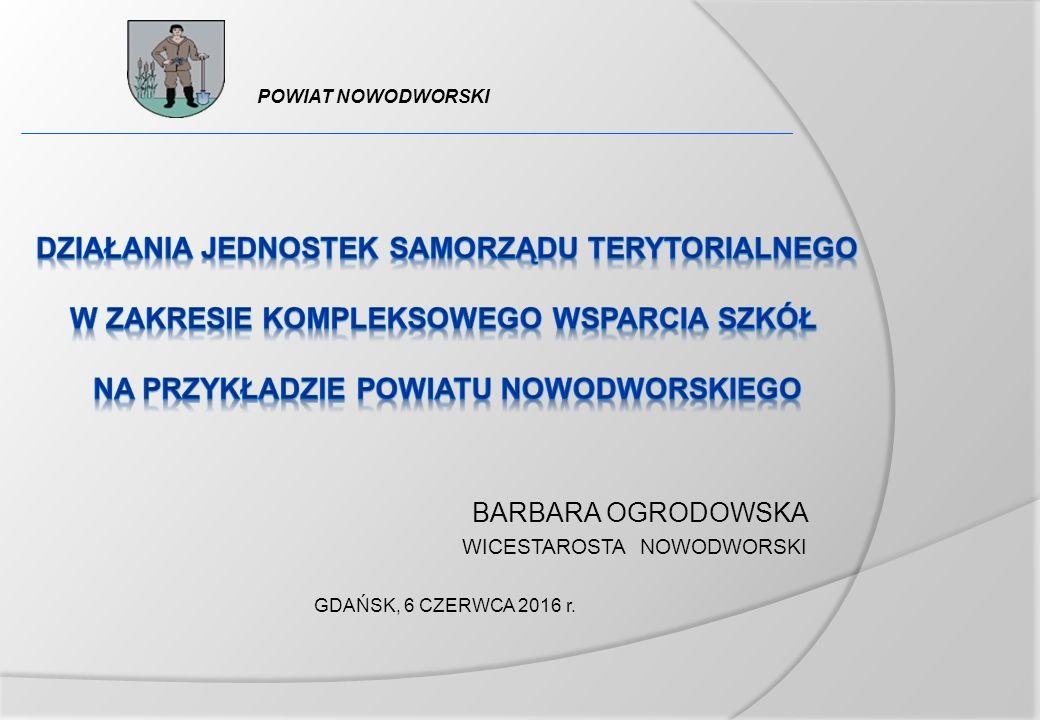 BARBARA OGRODOWSKA WICESTAROSTA NOWODWORSKI GDAŃSK, 6 CZERWCA 2016 r. POWIAT NOWODWORSKI