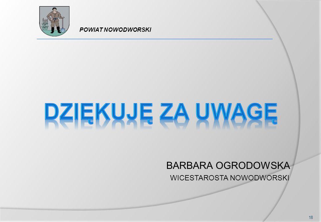 18 POWIAT NOWODWORSKI BARBARA OGRODOWSKA WICESTAROSTA NOWODWORSKI