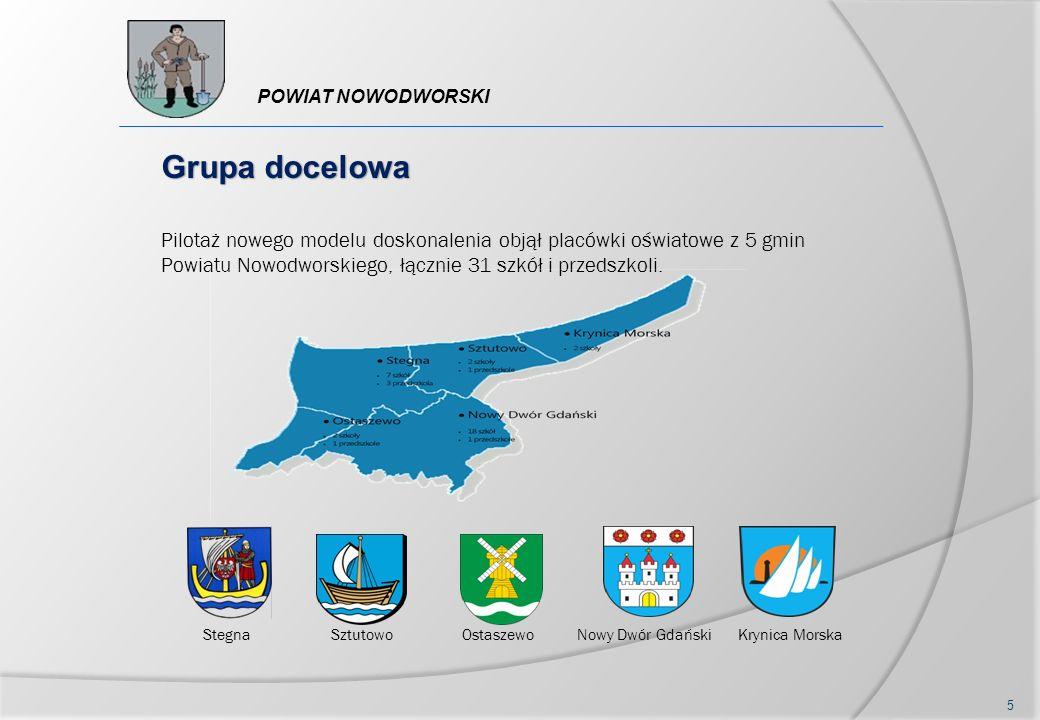 Pilotaż nowego modelu doskonalenia objął placówki oświatowe z 5 gmin Powiatu Nowodworskiego, łącznie 31 szkół i przedszkoli. Grupa docelowa StegnaSztu