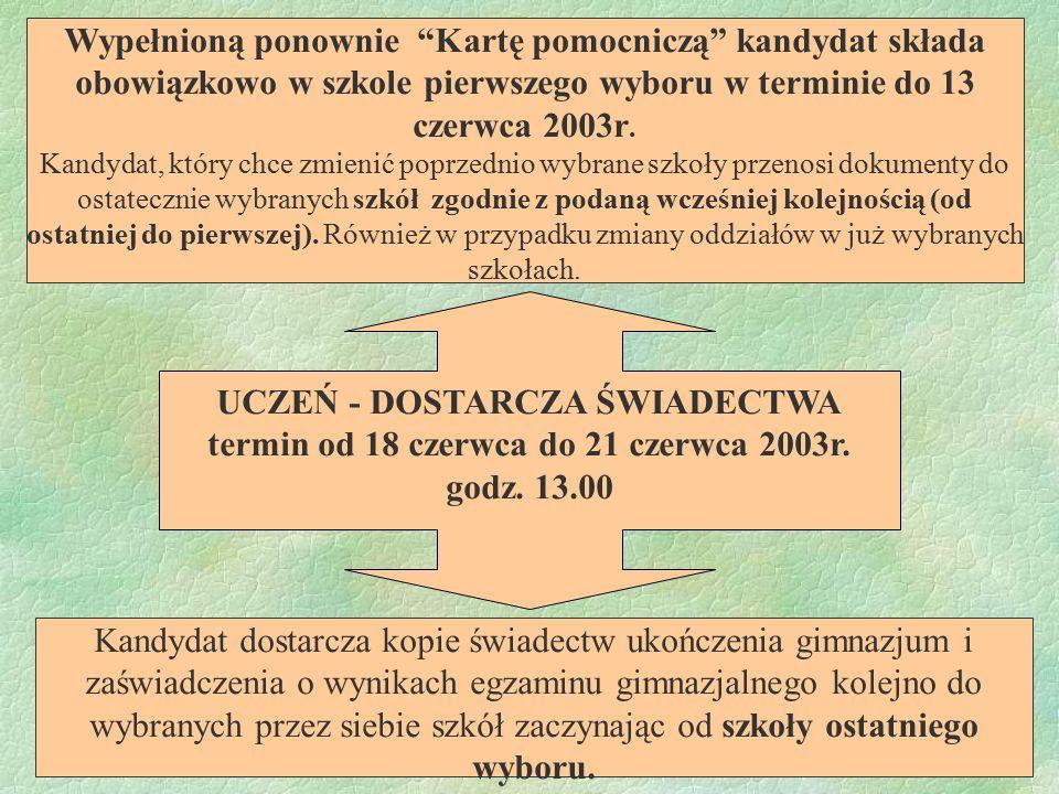 UCZEŃ - DOSTARCZA ŚWIADECTWA termin od 18 czerwca do 21 czerwca 2003r. godz. 13.00 Kandydat dostarcza kopie świadectw ukończenia gimnazjum i zaświadcz