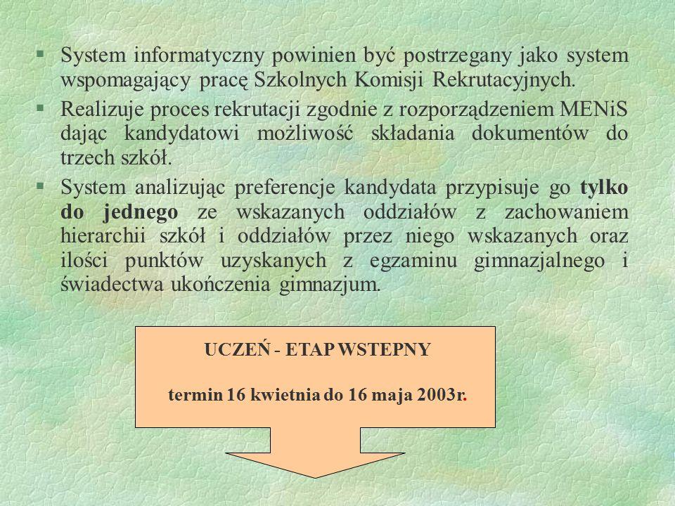 UCZEŃ - ETAP WSTEPNY termin 16 kwietnia do 16 maja 2003r. §System informatyczny powinien być postrzegany jako system wspomagający pracę Szkolnych Komi