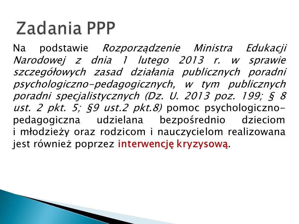 Na podstawie Rozporządzenie Ministra Edukacji Narodowej z dnia 1 lutego 2013 r. w sprawie szczegółowych zasad działania publicznych poradni psychologi
