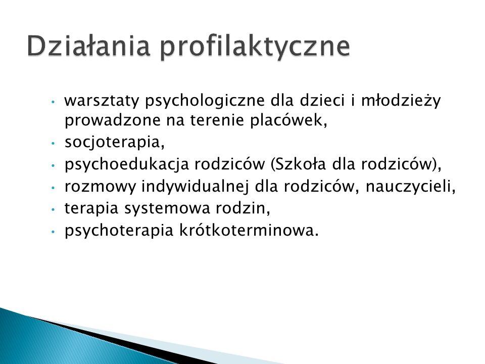 warsztaty psychologiczne dla dzieci i młodzieży prowadzone na terenie placówek, socjoterapia, psychoedukacja rodziców (Szkoła dla rodziców), rozmowy i